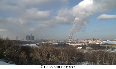 russian winter moscow cityscape - Pan on russian winter...