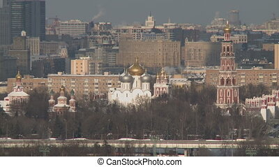 Panning on moscow city landscape in winter Russia