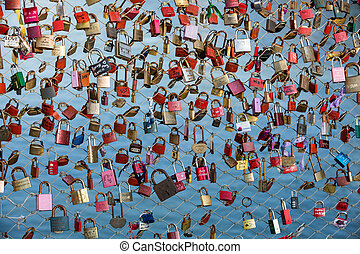 Close up of padlocks as a symbol of everlasting love at a...