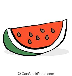watermelon cartoon illustration isolated on white