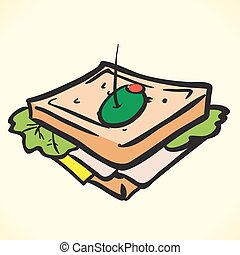 sandwich - tasty sandwich cartoon illustration