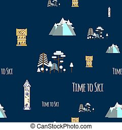 Seamless pattern with inscription  Time to ski. Flat design