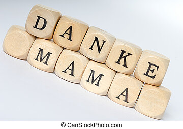 Mothers Day - Wooden Cubes with the german words Mothers Day