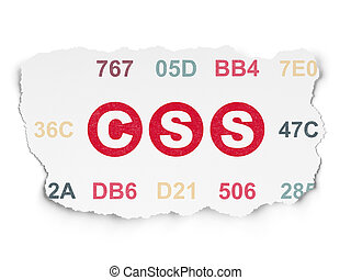 Database concept: Css on Torn Paper background - Database...