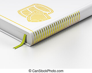 Database concept: closed book, Database With Shield on white...