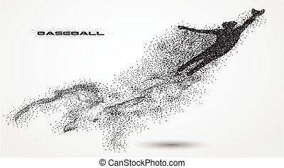 baseball player of a silhouette from particle. background...