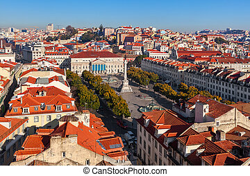 Rossio square in Lisbon, Portugal. - View from above on...