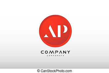 AP letter alphabet red circle dot logo vector design - AP...