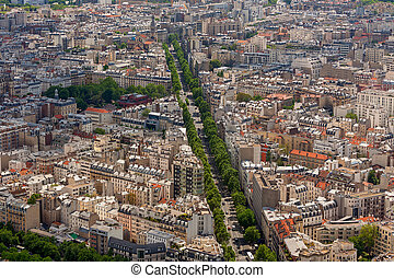 Parisian skyline. - Buildings, streets and boulevards as...