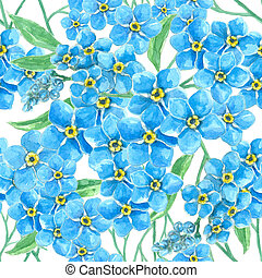 Forget me not seamless pattern - Watercolor seamless pattern...