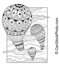 Aeronautic balloon coloring book vector illustration....