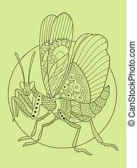 Mantis insect hand drawn vector illustration. Lace pattern