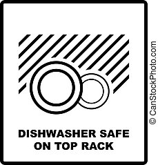 Dishwasher safe on top rack symbol isolated. Dishwasher safe sign isolated, vector illustration. Symbol for use in package layout design. For use on cardboard boxes, packages and parcels