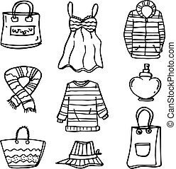 Clothes set for women of doodles vector art
