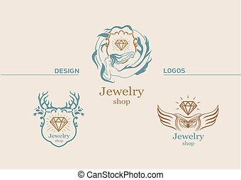 Set creative logos for mazgazin jewelry, jewel of, and the scope of animals