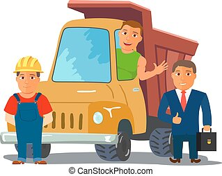 Cartoon Businesman with Truck Driver and Builder Characters....