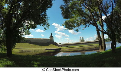 Pskov Kremlin in summer - RUSSIA, PSKOV, JULY: Panorama of...