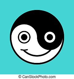 Smiling cartoon yin-yang face