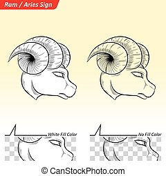 Aries Zodiac Star Sign Sketch - Vector Illustration of Aries...