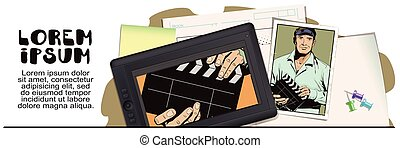 Man with clapperboard - Stock illustration. Style of pop art...