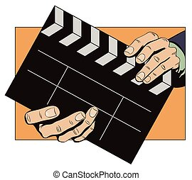 Hands with clapperboard - Stock illustration. Style of pop...