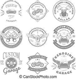 Custom Garage Label and Badges Design. Vector illustration