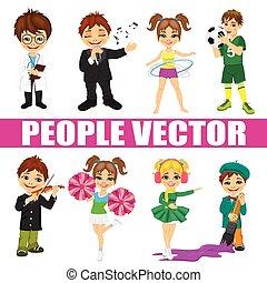 Set of diverse kids. Doctor, singer, soccer player, fitness, violinist, artist, cheerleader, skater
