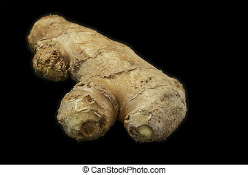 Ginger root isolated on black background