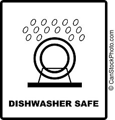 Dishwasher safe symbol isolated. Dishwasher safe sign isolated, vector illustration. Symbol for use in package layout design. For use on cardboard boxes, packages and parcels