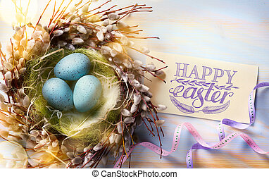art Happy Easter background - Easter eggs and spring...