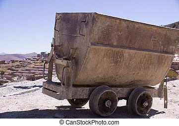 Mine cart in Potosi, Bolivia - Mine cart at Cerro Rico mines...