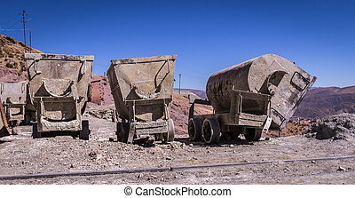 Mine carts in Potosi, Bolivia - Mine carts at Cerro Rico...