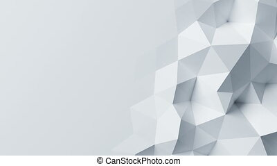 Beautiful White Polygonal Wall Morphing in Looped Abstract 3d Animation. Seamless Background Concept