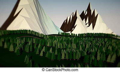 Low poly landscape. The trees, the mountains and the road....