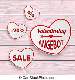 White Sale Hearts Red Ribbon Valentinstag Pink Wooden...