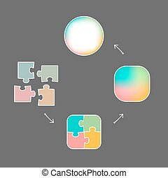 From puzzle pieces to whole concept - Graphic of colored...