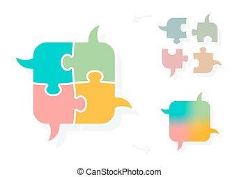 Brainstorming puzzle speech bubbles concept - Jigsaw puzzle...