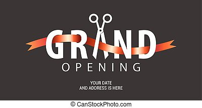 Grand opening vector background. Scissors and red ribbon...