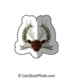 sticker crown leaves and label with moose animal vector...