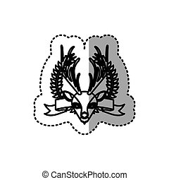 sticker silhouette crown leaves and label with moose animal...