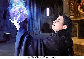 giovane, bello, ragazza, energia, sfera, Sorcerer