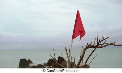 Red flag on a beach