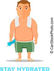 Cartoon guy, after work out, with towel and water bottle....