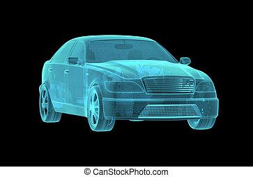 Car Hologram Wireframe