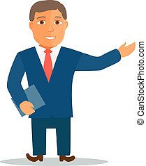 Businessman Cartoon Character in Blue Suit. Vector