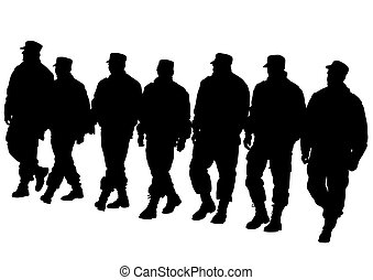 Police men walking - People of special police force on white...