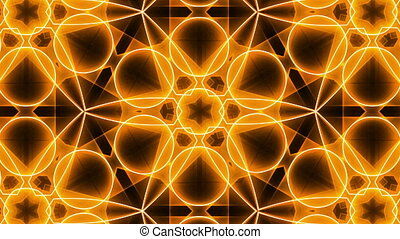 Fractal orange kaleidoscopic background. Seamless loop