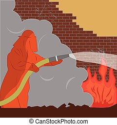 Firefighter puts out fire - Vector illustration of a fireman...