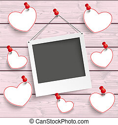Instant Photo Frame Hanging Hearts Pink Wood - Instant photo...