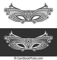 Carnaval Mardi Gras Mask Set. Vector illustration